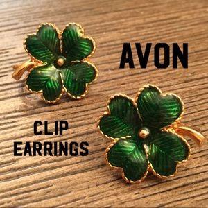 Vintage Avon Green Enamel Clover Shamrock Earrings